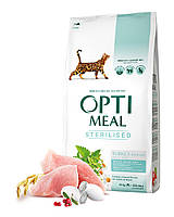 Optimeal сухой корм для стерилизованных котовс индейкой и овсом 10КГ