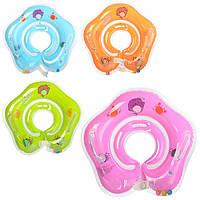 Круг R1-2  для купания детей, 40см,на застежке,ручки 2шт,4цв,в кульке,16-14-2см