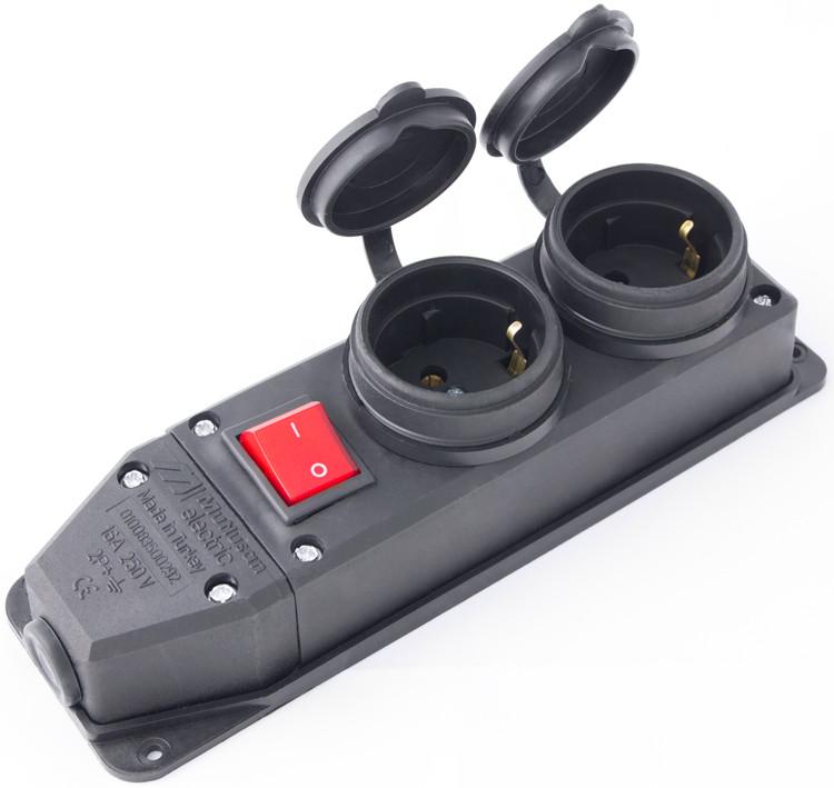 Розетка двойная с защитной крышкой каучуковая e.socket.rubber.029.2.16.s, из из/к, 16А, с выключателем
