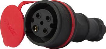 Силовая розетка переносная  с защитной крышкой каучуковая e.socket.rubber.071.32, 4п., 32А