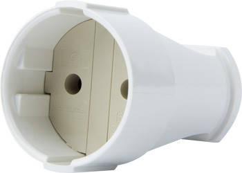 Гнездо штепсельное e.socket.001.10.white, без з/к 10А 250В, белый
