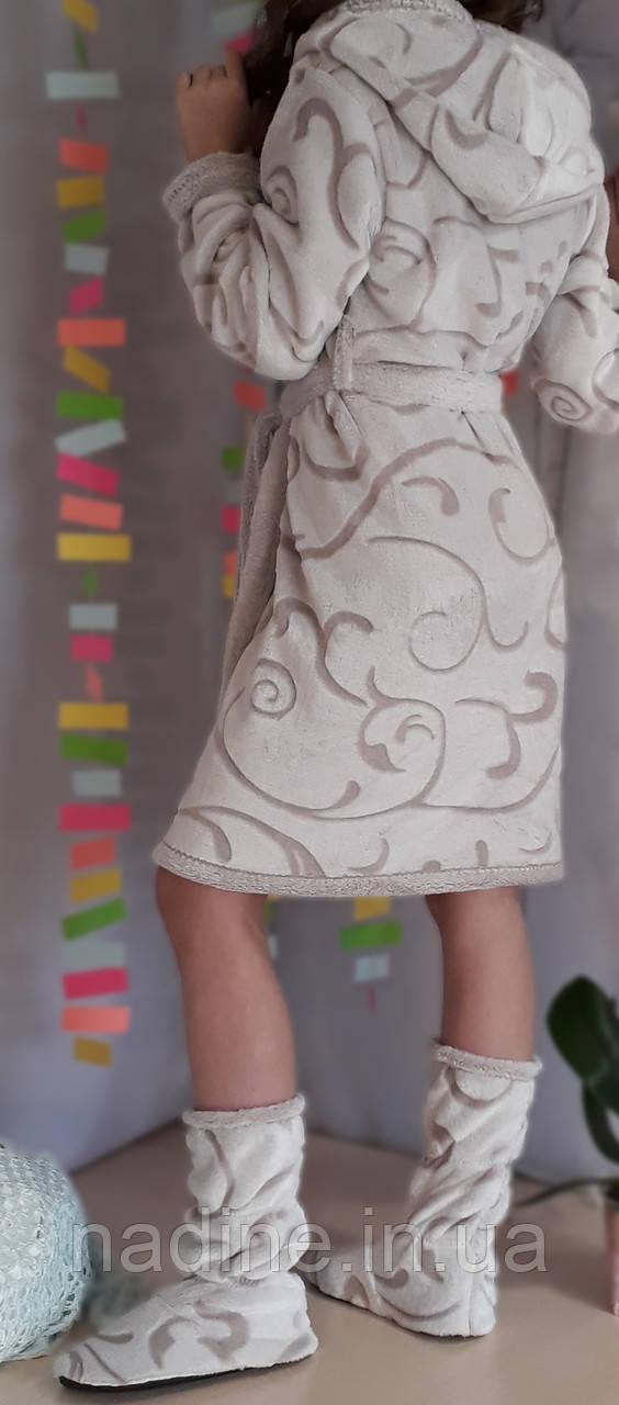 Бамбуковий підлітковий халат з чобітками на зростання 158-164