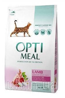 Optimeal сухой корм для взрослых котов чувствительное пищеварение, с ягненком 4КГ