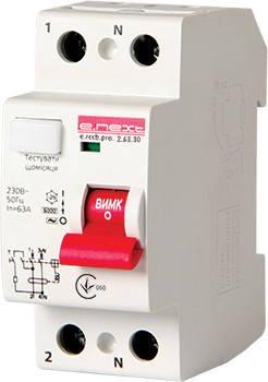 Выключатель дифференциального тока e.rccb.pro.2.63.30, 2р, 63А, 30мА