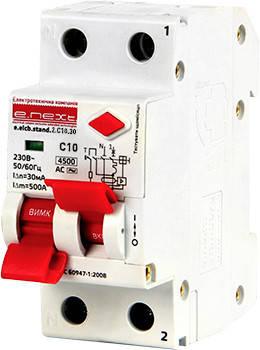 Выключатель дифференциального тока (дифавтомат) e.elcb.stand.2.C10.30, 2р, 10А, C, 30мА с разделенной рукояткой