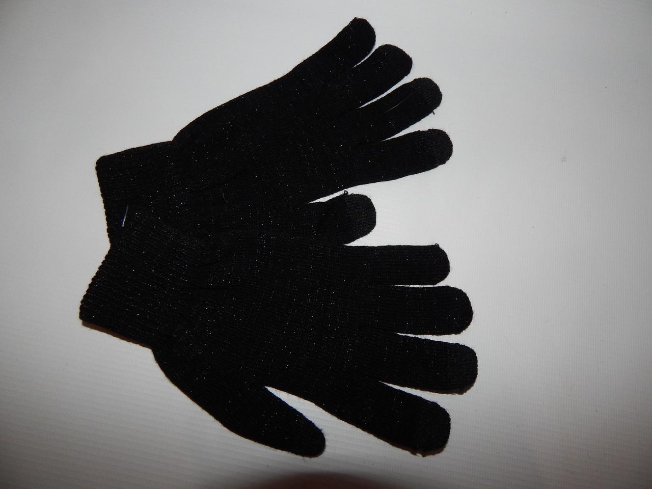 Перчатки подросток трикотажные сенсорные c люрексом р.M-L (6) 028DDP