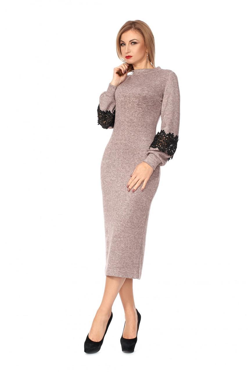 b0a9058bdf19ec0 Женское ангоровое платье ниже колена 1110 / размер 42,44,46,48,50 ...
