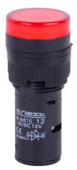 Светосигнальная арматура e.ad16.12.red Ø16мм 12В АС/DC красная