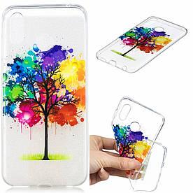 Чехол накладка для Huawei Honor Play силиконовый, Разноцветное дерево