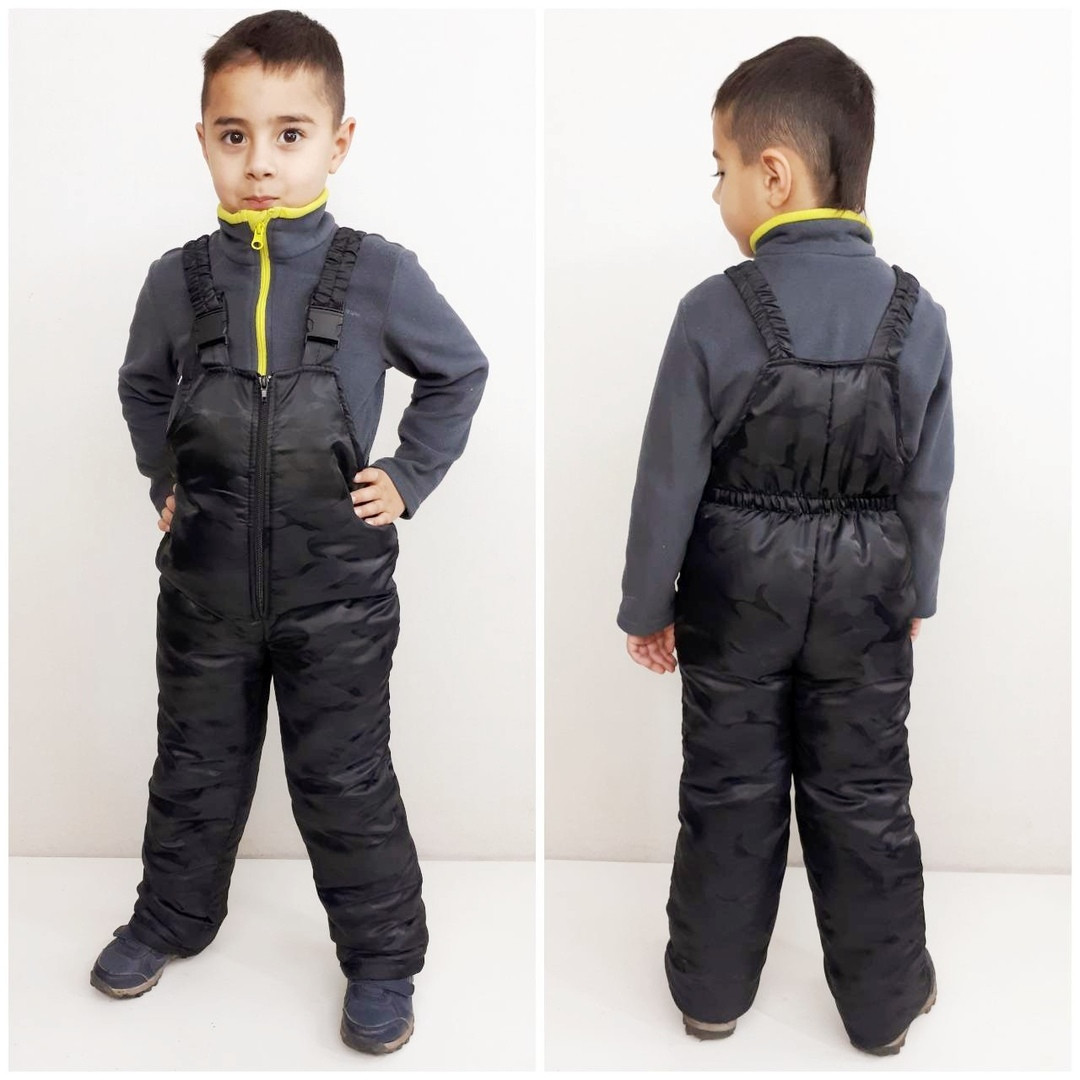 Полукомбинезон зимний  детский цвет черный 110-116 см
