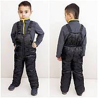 Полукомбинезон зимний  детский цвет черный 110-116 см, фото 1