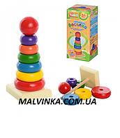 Деревянная игрушка Пирамида арт 0066  15-6 см, 7дет, в коробке,16-7-7 см.