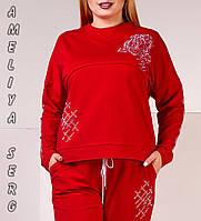 Модный турецкий стильный батальный спортивный костюм женский красный, фото 1