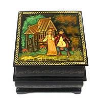 Шкатулка деревянная расписная миниатюра