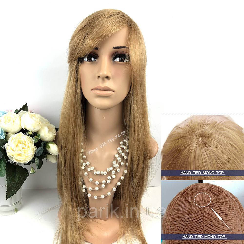 Натуральный светло русый парик с чёлкой, длинный из натуральных волос