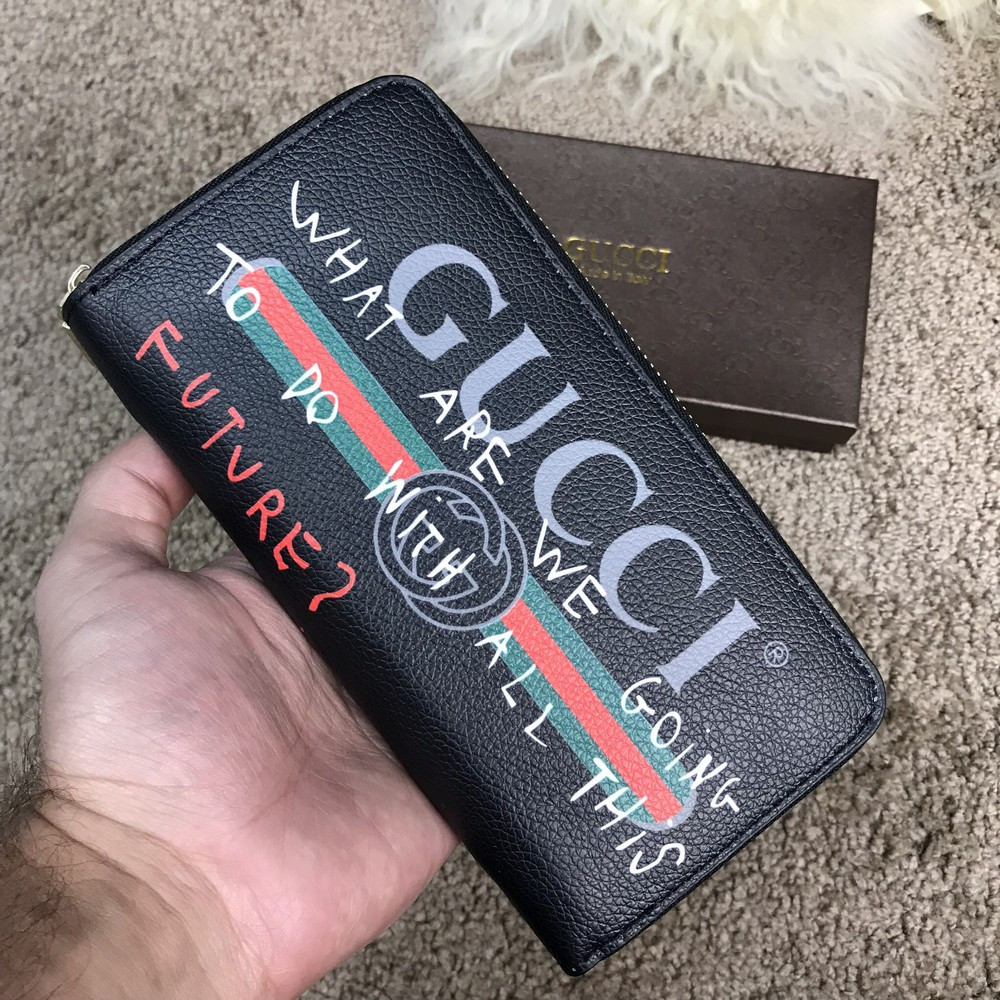 Gucci Print leather Future Zip Around Wallet Black