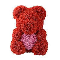 Мишка из Роз 3D Красный с розовым сердцем 40см. В подарочной коробке.  Доставка бесплатно по Украине!