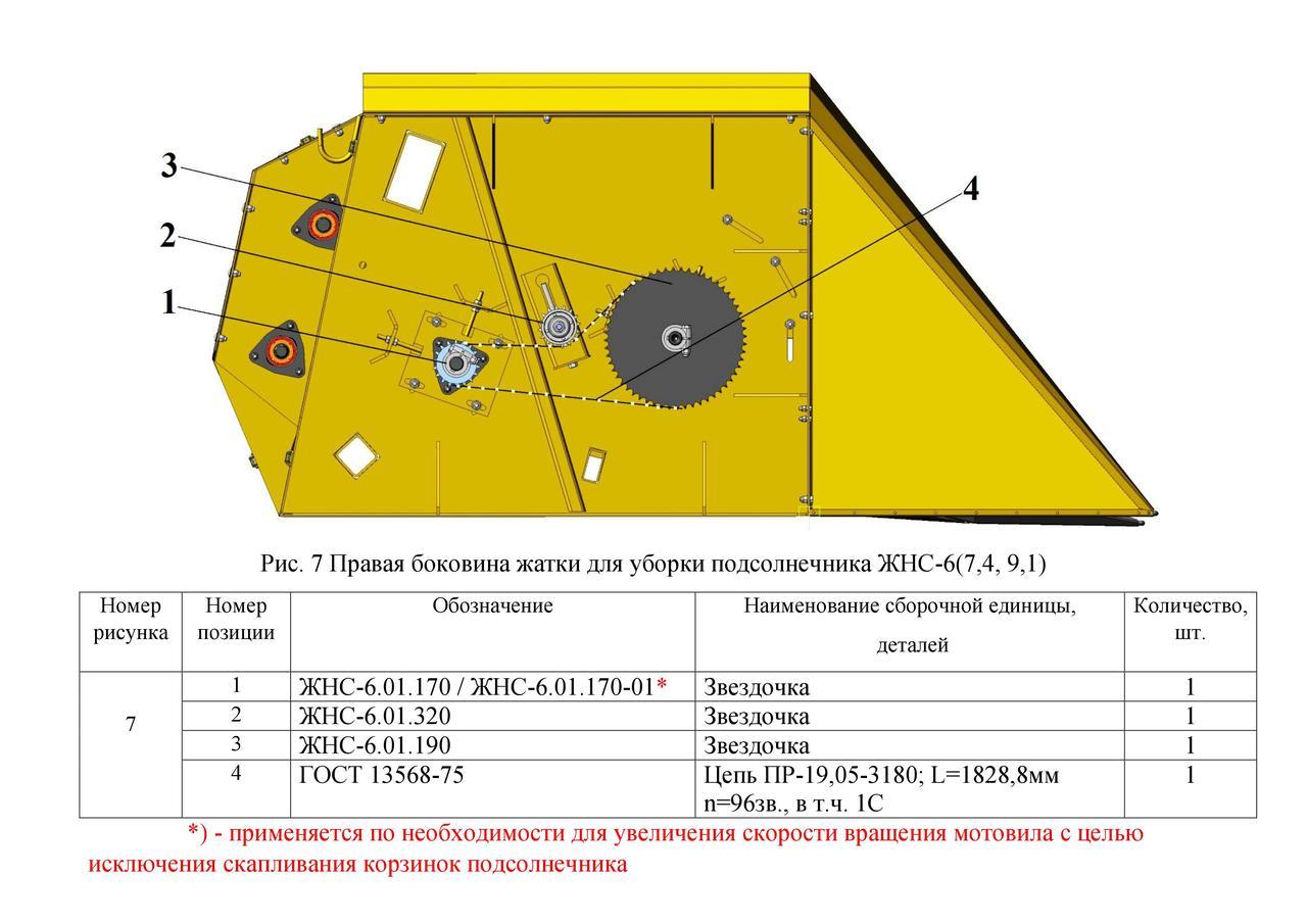 Правая боковина жатки ЖНС-6(7,4, 9,1)