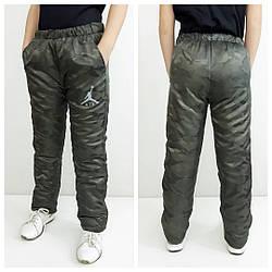Зимние штаны подросток , цвет хаки  размер  164-170 см