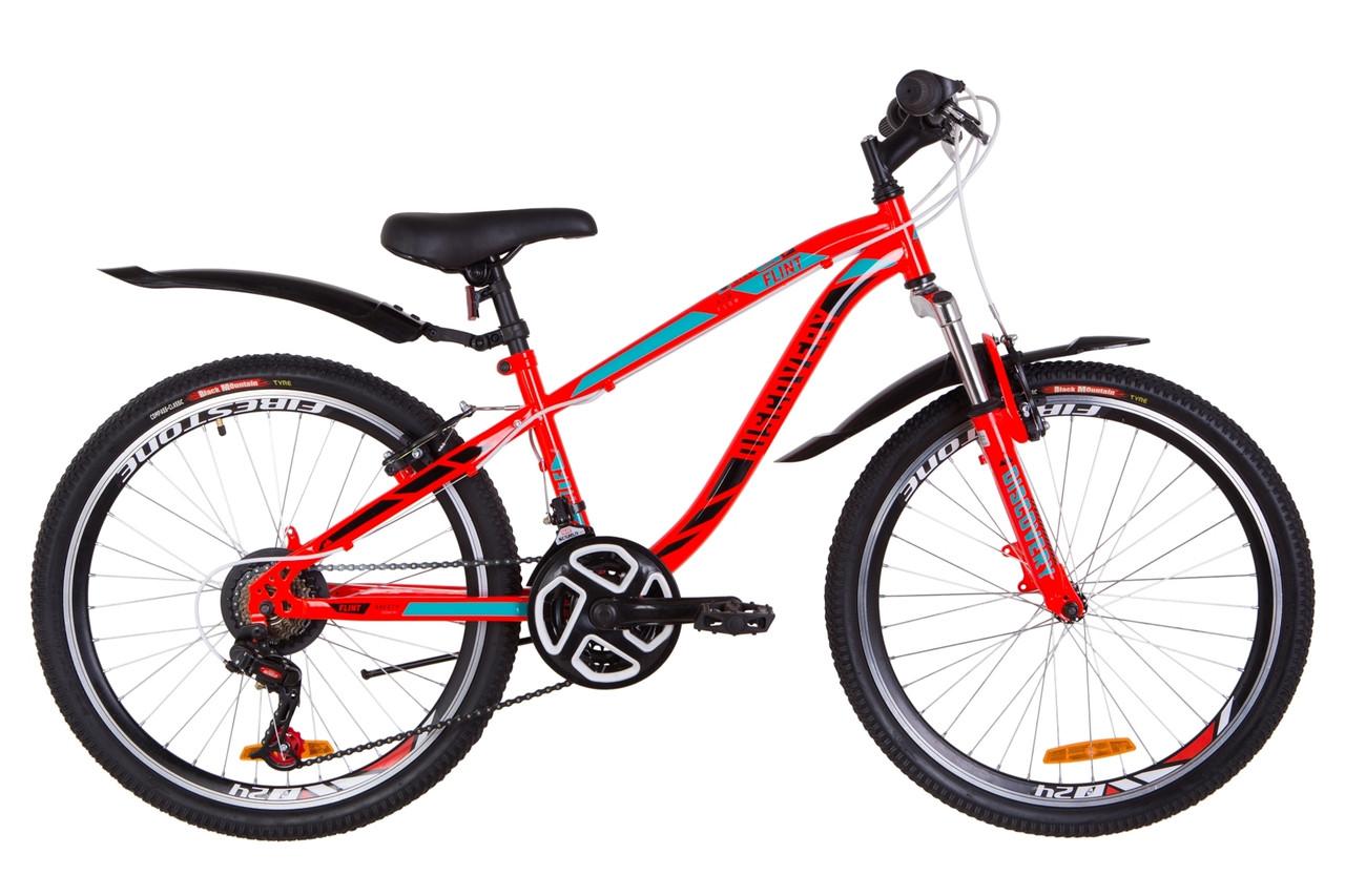 """Велосипед 24"""" Discovery FLINT AM 14G Vbr St с крылом Pl 2019 (красно-бирюзовый с черным)"""