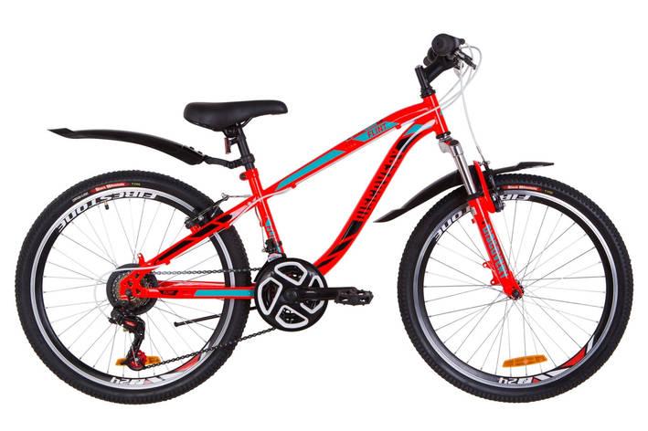 """Велосипед 24"""" Discovery FLINT AM 14G Vbr St с крылом Pl 2019 (красно-бирюзовый с черным), фото 2"""