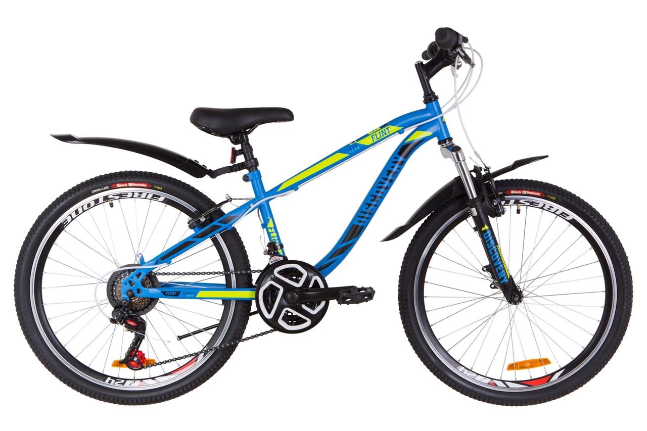 """Велосипед 24"""" Discovery FLINT AM 14G Vbr St с крылом Pl 2019 (синий с зеленым (м))"""