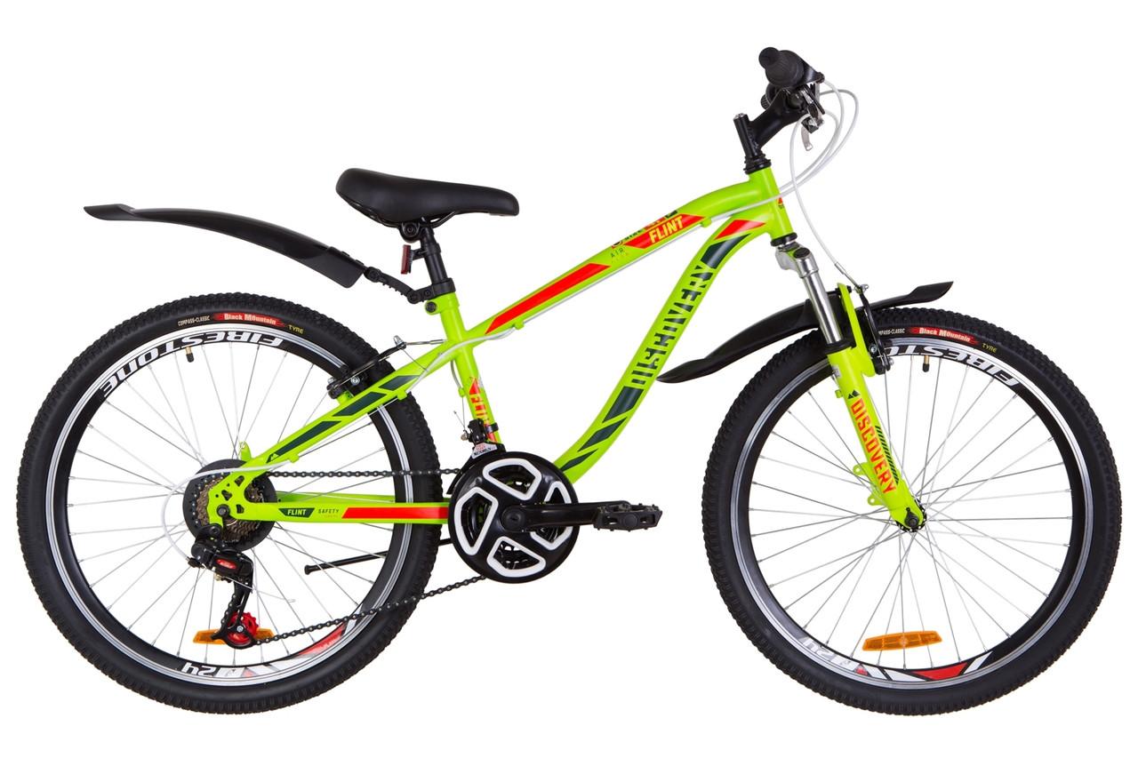 """Велосипед 24"""" Discovery FLINT AM 14G Vbr St с крылом Pl 2019 (зелено-красный (м))"""