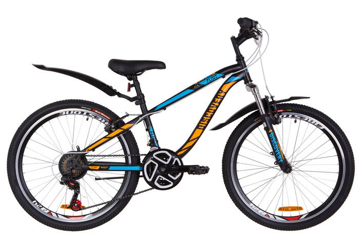 """Велосипед 24"""" Discovery FLINT AM 14G Vbr St с крылом Pl 2019 (черно-синий с оранжевым (м)), фото 2"""