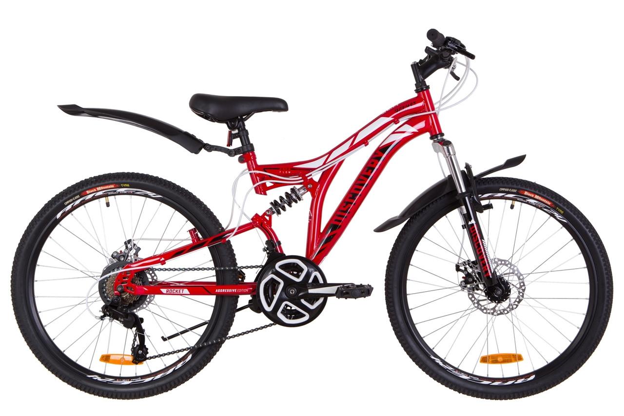 """Велосипед 24"""" Discovery ROCKET AM2 14G DD St с крылом Pl 2019 (красно-белый с черным)"""
