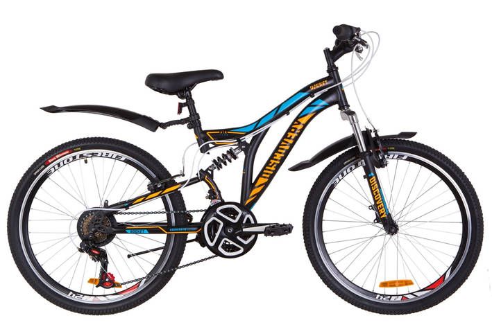 """Велосипед 24"""" Discovery ROCKET AM2 14G Vbr St с крылом Pl 2019 (черно-оранжевый с синим (м)), фото 2"""