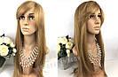 Натуральный светло русый парик с чёлкой, длинный из натуральных волос, фото 3