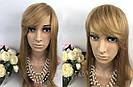 Натуральный светло русый парик с чёлкой, длинный из натуральных волос, фото 6