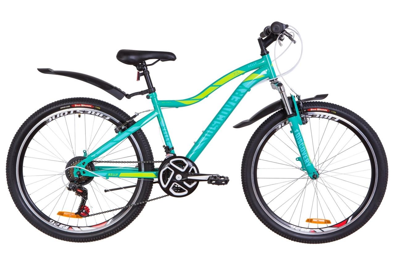 "Велосипед 26"" Discovery KELLY AM 14G Vbr St с крылом Pl 2019 (зеленый)"
