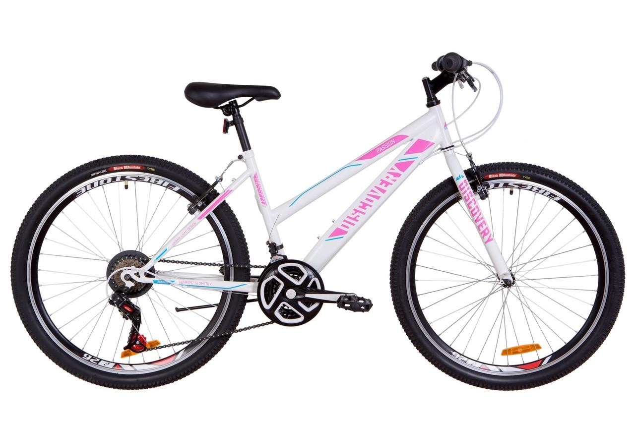 """Велосипед 26"""" Discovery PASSION 14G Vbr St 2019 (бело-розовый с голубым)"""
