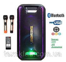 Аккумуляторная колонка с микрофонами Mega Bass TMS-502 / 120W (USB/FM/Bluetooth)