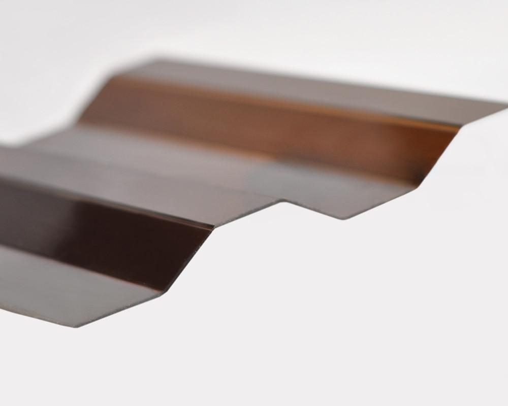Профилированный монолитный поликарбонат ТМ Borrex 0.8мм 105х300см янтарный