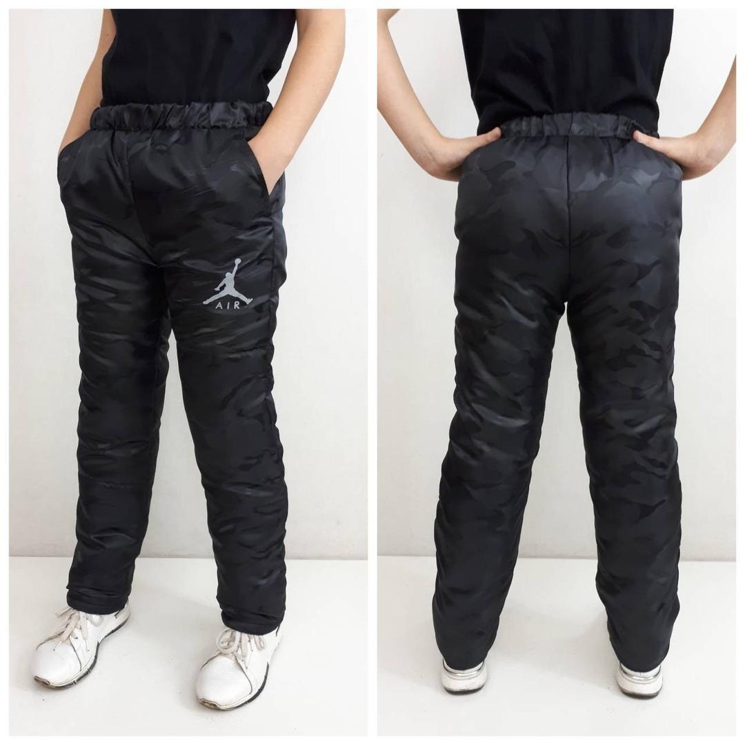Зимние штаны детские, подросток , цвет черный  158 см