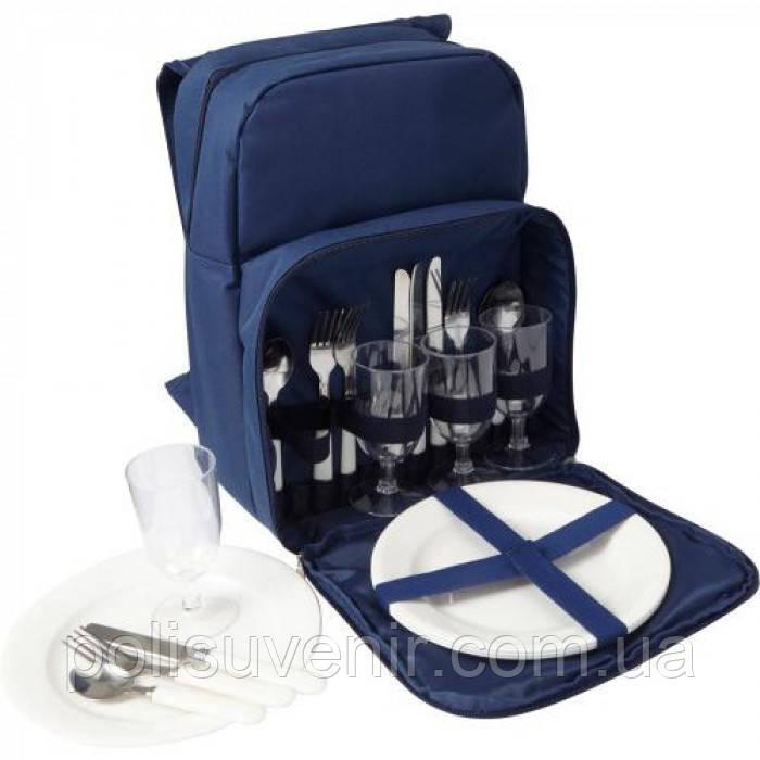 Рюкзак для пікніка на 4 персони у синьому кольорі