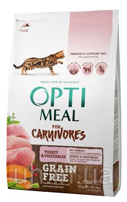 Optimeal (Оптимил) беззерновой сухой корм для кошек, индейка и овощи 4кг