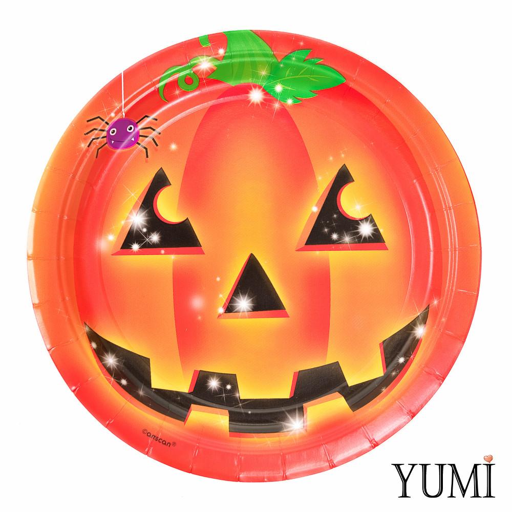 Тарелка картон Тыква Хэллоуин 23см / 8шт. Amscan