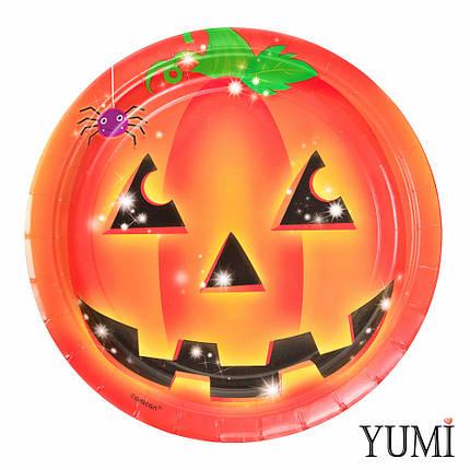 Тарелка картон Тыква Хэллоуин 23см / 8шт. Amscan, фото 2