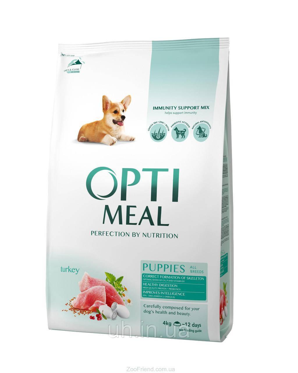 Optimeal (Оптимил) сухой корм для щенков всех пород, с индейкой  4кг