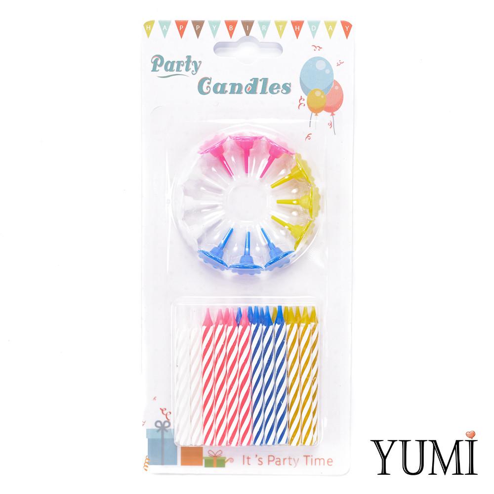 Свечи Birthday Candle для торта Спираль 24 шт. с разноцв. подставками