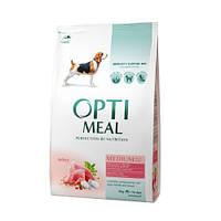 Optimeal сухой корм для собак средних пород- с индейкой 4КГ