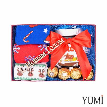 Новогодний сладкий подарочный набор с носками, фото 2