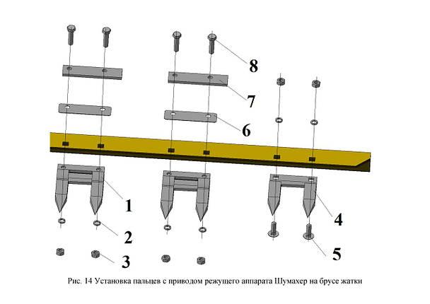 Установка пальцев с приводом режущего аппарата Шумахер на брусе жатки, фото 2