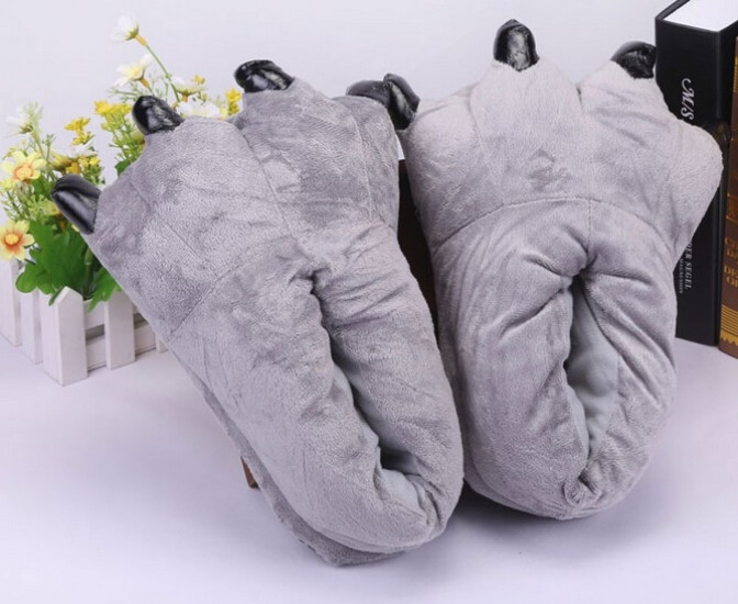 ХИТ ПРОДАЖ Kigurumi (Кигуруми) - Домашние тапочки кигуруми Лапы Серые  (размер 24-26 см 5731841a86668