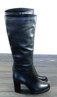 Зимние кожаные сапоги на каблуке черные Anna Lucci, фото 1