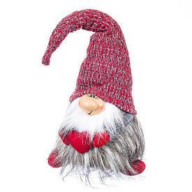 Новогодняя декоративная кукла Гном-бородач 42см