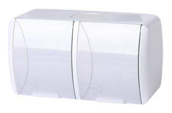 Розетка двойная e.aqua.1232.gr с з/к, для внешнего монтажа, IP54, крышка белая